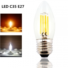 4W 220V LED C35 E27 Filament Light Bulb Medium Screw Base E27 LED Clear Glass Torpedo Shape Lamp for E27 Light Fixtrue Lighting-Pack of 4