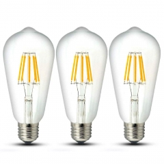 8W ST64 E27 LED Dimmable Filament Bulb Squirrel Cage Vintage Light Antique Style Edison Bulb 70W Incandescent Equivalent (3-Pack)