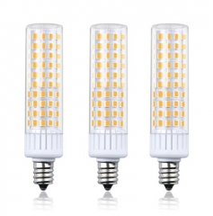 Luxvista Dimmable 8.5W E12 LED Light Bulb, T3/T4 Candelabra Base E12 Ceiling Light 100W Halogen Replacement Candle Corn Bulb, 3-Pack