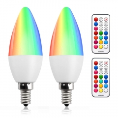 Bonlux Colour Changing RGB E14 Dimmable LED Candle Bulb 3W, 12 Color, Memory & Timing Function, RGB Coloured SES LED Light Bulbs